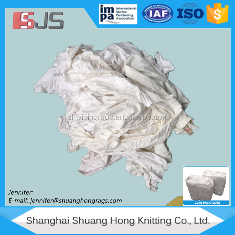 Cut white T-shirt cotton wiping rags