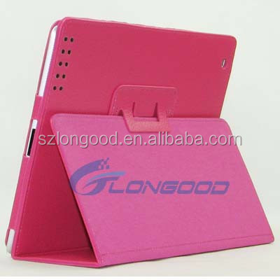 Wake/Sleep function fold design flip stand leather tablet case for ipad2/3