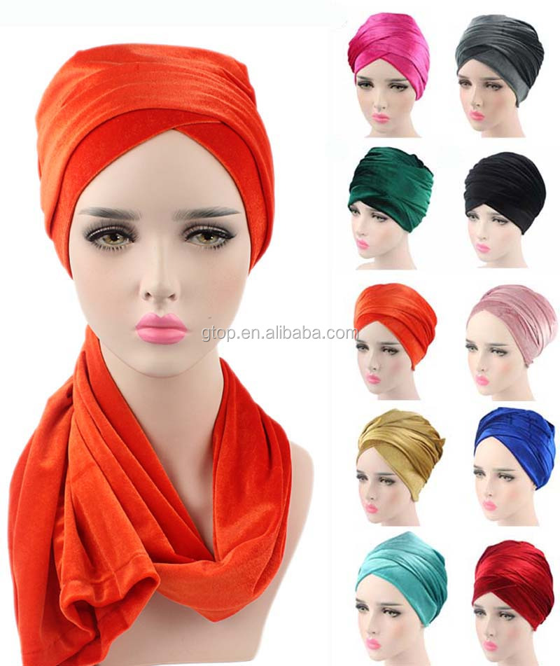 luxury hijab Turban Head Wrap Extra Long velvet tube indian Headwrap Scarf Tie