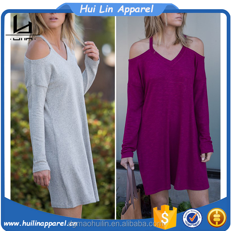 women summer 2017 knit wear cold shoulder long sleeve loose fit plain straight dress