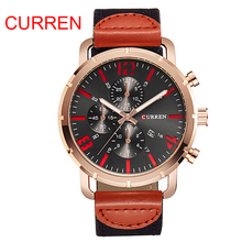 CURREN Brand Relojes Hombre Bracelet Watch Casual Military Leather Quartz Waterproof Wrist Watch