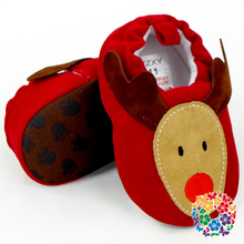 New Style Cute Red Color Girl Infant Shoes Deer Patterns Crib Moccasins Baby Girl Christmas Shoes Wholesale Baby Shoes