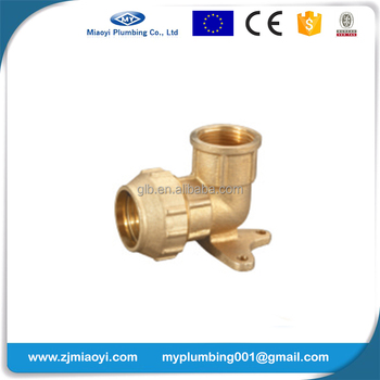 Brass Compression Fittings for PE Pipe - Wall Plate Elbow