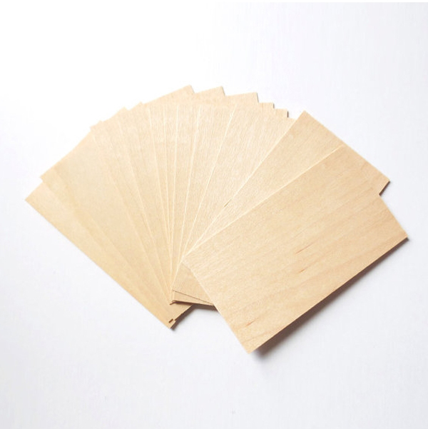 Blank Square Wood Cards Wooden Business / Place Card Wooden Tags Natural Color