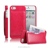 High Quality PU Leather Wallet Flip Case Cover For Apple iPhone 5