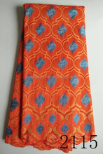Best Woven fashional fabric African fabrics sample lace 2115 orange