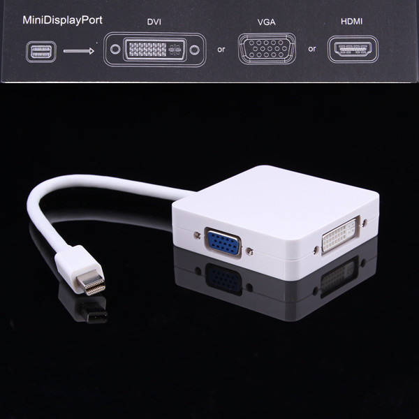 Factory Wholesale 3 in 1 Mini DP Display port Thunderbolt to HDMI DVI VGA Adapter 24cm cable for Apple for MacBook Pro Mac Air