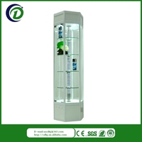 Glass and wood modern corner glass display cabinet