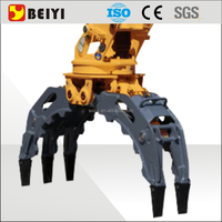 Durable safety excavator stone grapple, wood grapple bucket with 360 degree rotation