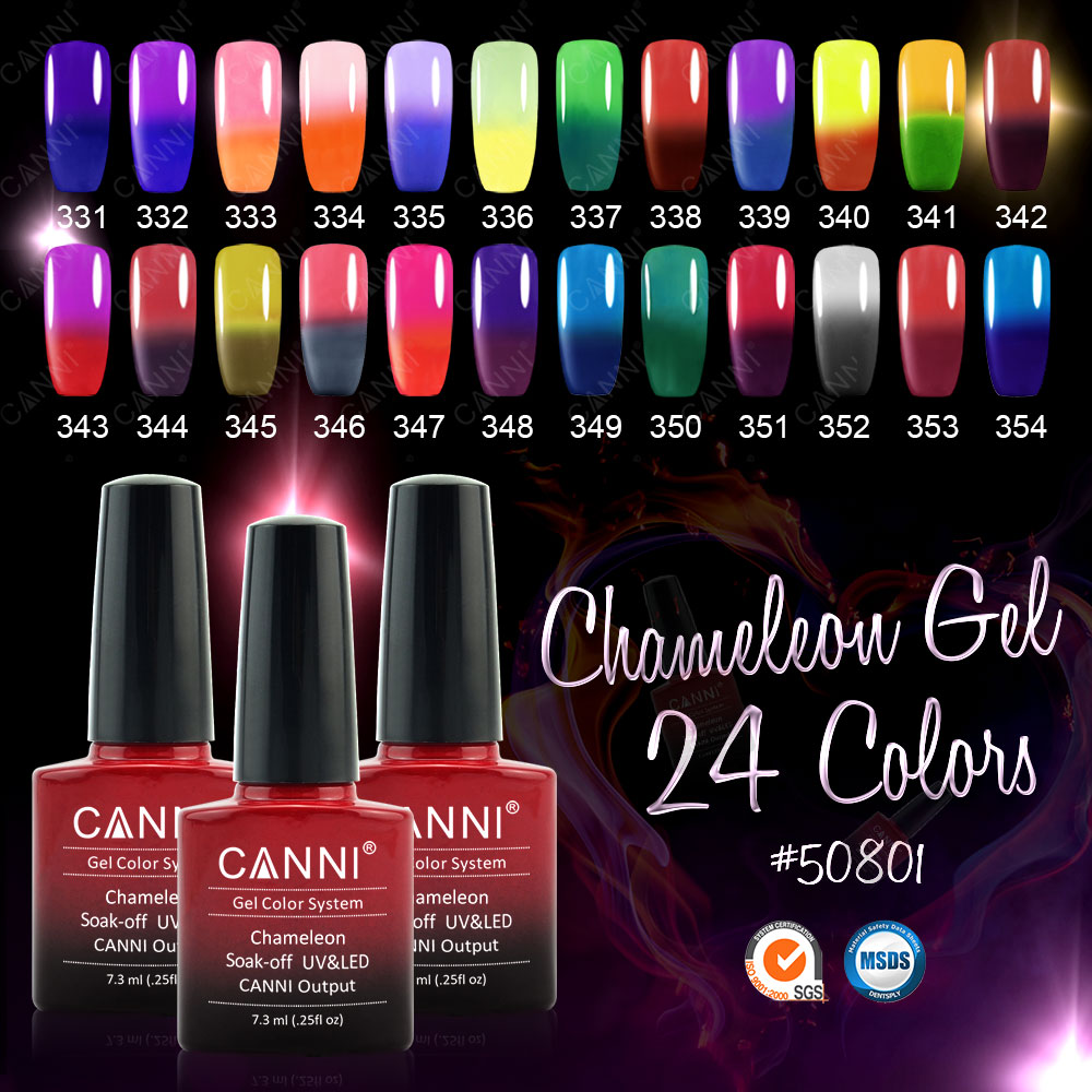 #50801a CANNI 24 Colors temperature gel nail polish 7.3 ml Chameleon Soak off Long Lasting color change Gel Nail Gel Lacquers