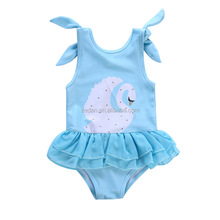 wholesales one piece swan pattern blue suspender swimsuit with lace hem baby girl beach jumpsuit