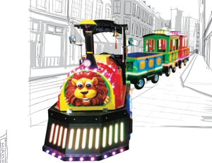 New design amusement park coin operated electric tourist train rides kids track train for sale