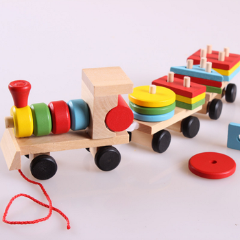 Creative kids toy simple wooden pulling train