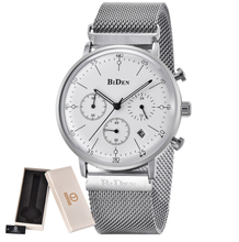 Luxury Brand Biden Mens Watches Casual Quartz Wrist Watch Men Mesh Stainless Steel Band relogio masculino