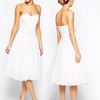 Off-shoulder white new design latest a-line midi cocktail dress