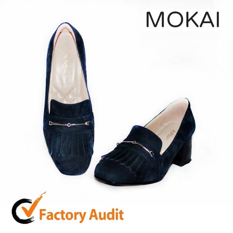 MK186-5 navy kid suede china factory wholesale real leather chunky heel women shoe