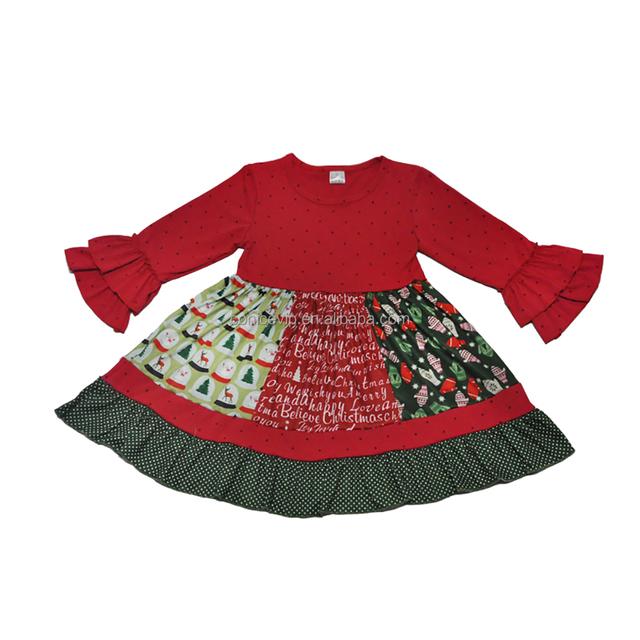 Wholesale baby wear clothes girls boutique christmas dress long sleeve children frocks design