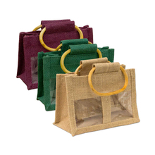 Eco-friendly jute bag with PVC window jam jute bag wholesale