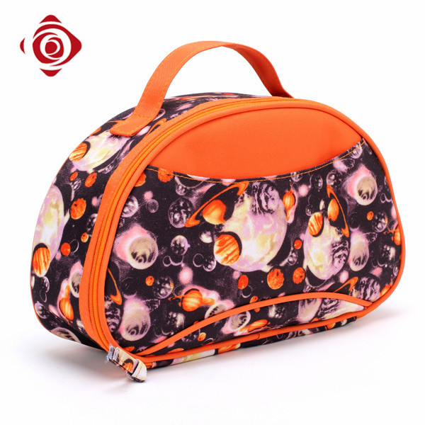 Fashion printed makeup artist train case portable large toiletry bag