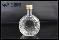 55ml Luxurious old diamond oval wine empty mini glass liquor bottle with screw cap