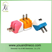 Colorful US plug wall charger for mobile phone fast charging USB charger
