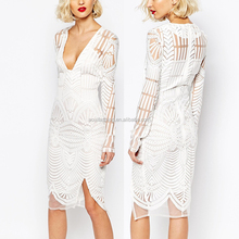 OEM New Design Long Sleeve Plunge V-neck Embroidered Wrap See Through Sexy Cocktail Dress