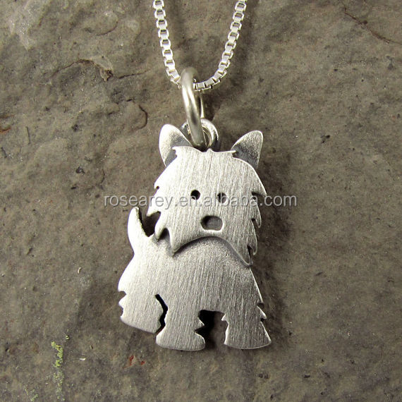 Lasted Design Stainless Stee Goldl Animal Pendant Brushed Tiny Westie Necklace For Girls Women