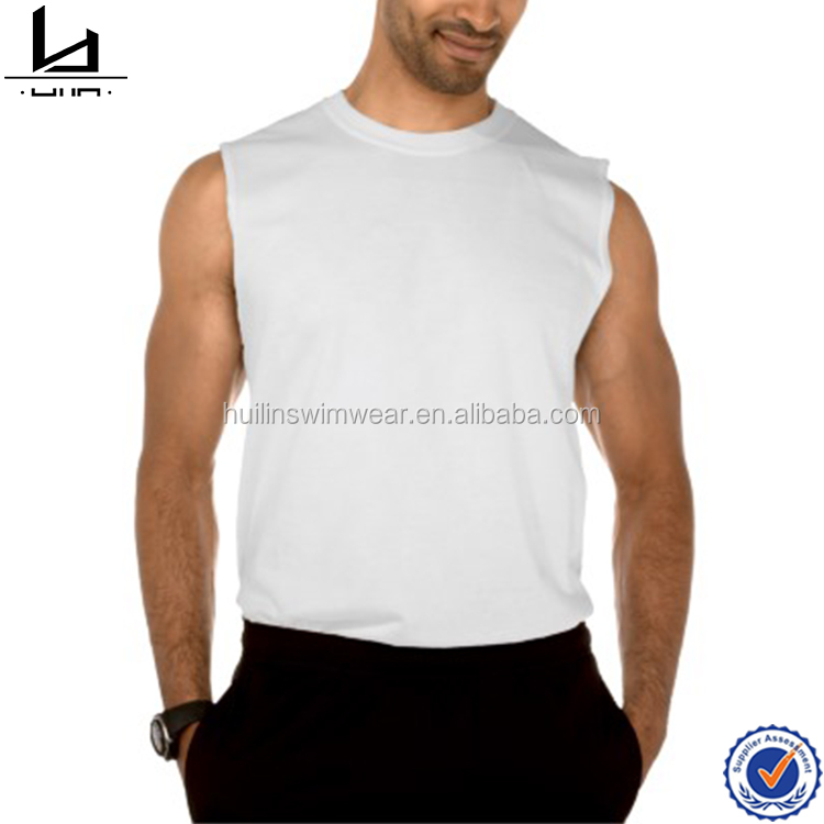 Seamless double needle sleeveless white tee 100% cotton casual t-shirts for men custom sleeveless raglan tee shirt