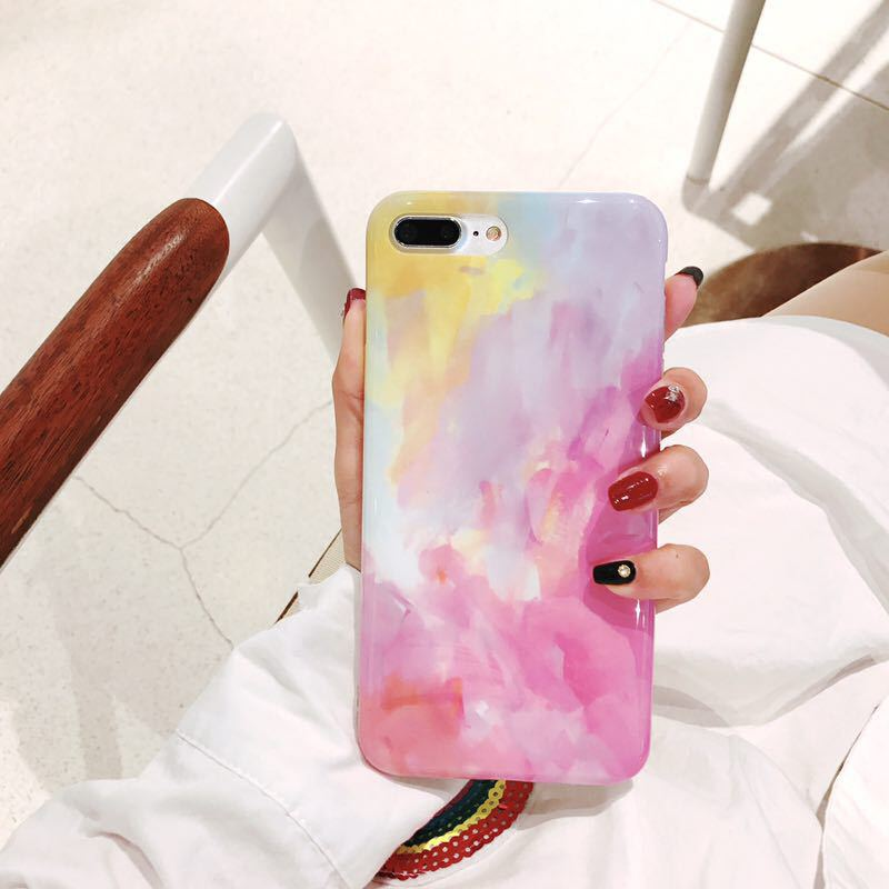Wholesale fashion soft glossy TPU MID water color mobile phone case for iPhone 6s 7 8 Plus X