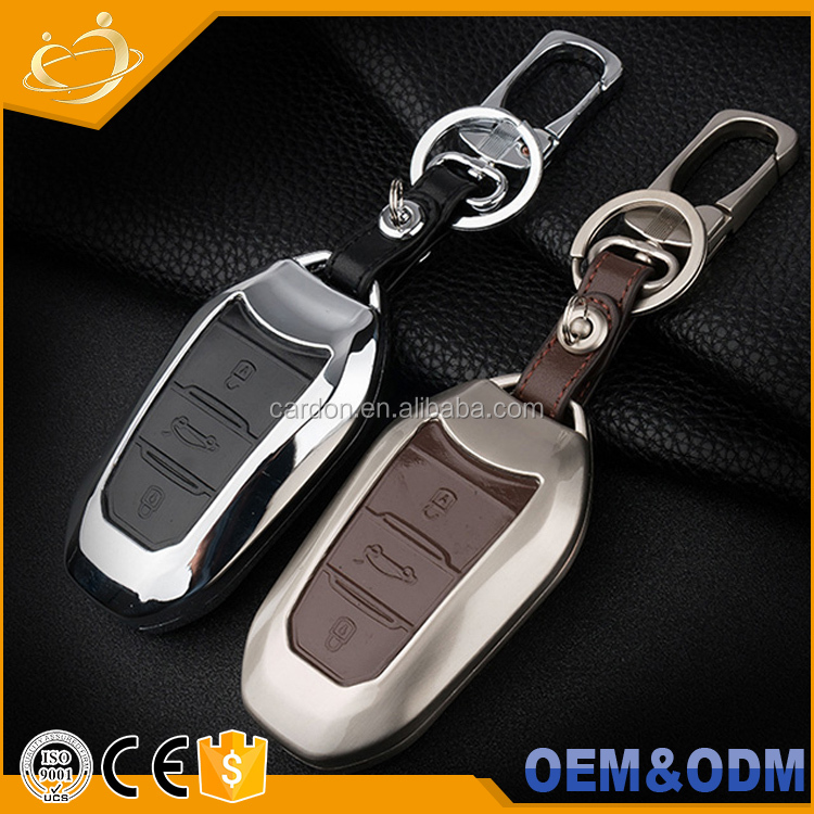 High Quality Leather+Premium Aluminium Metal Key Chain <strong>Protective</strong> Intelligent For Citroen C4 C4L C6 C3-XR DS4 DS5 DS5L DS6