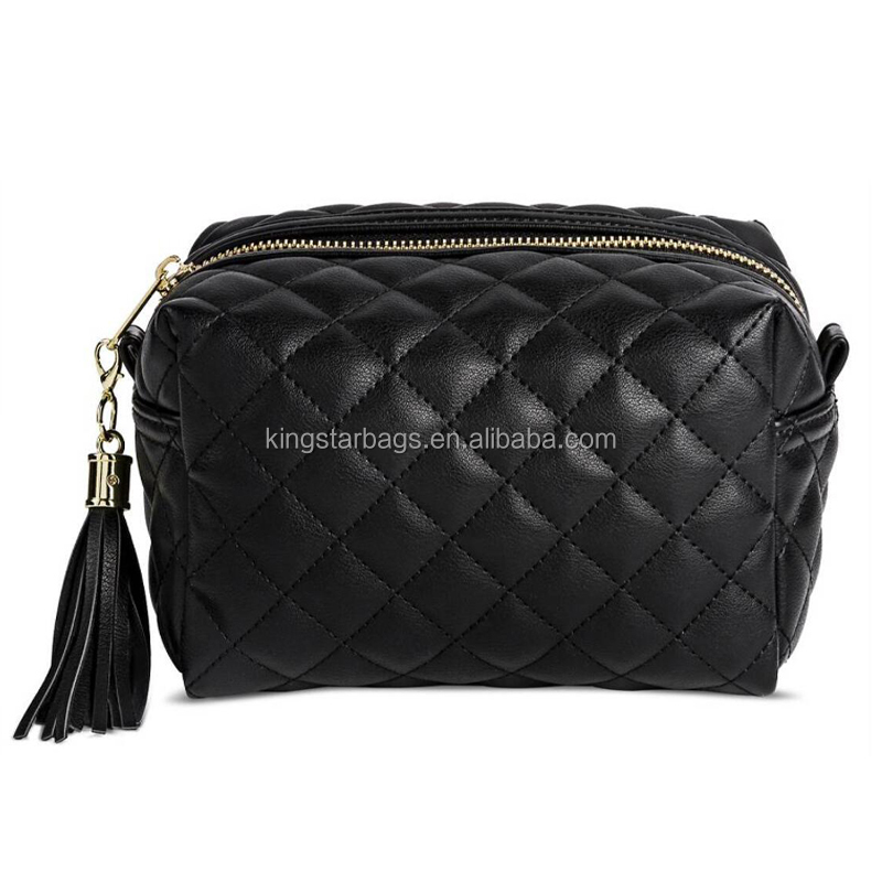 Women's Faux Leather Quilted Pouch Clutch Black