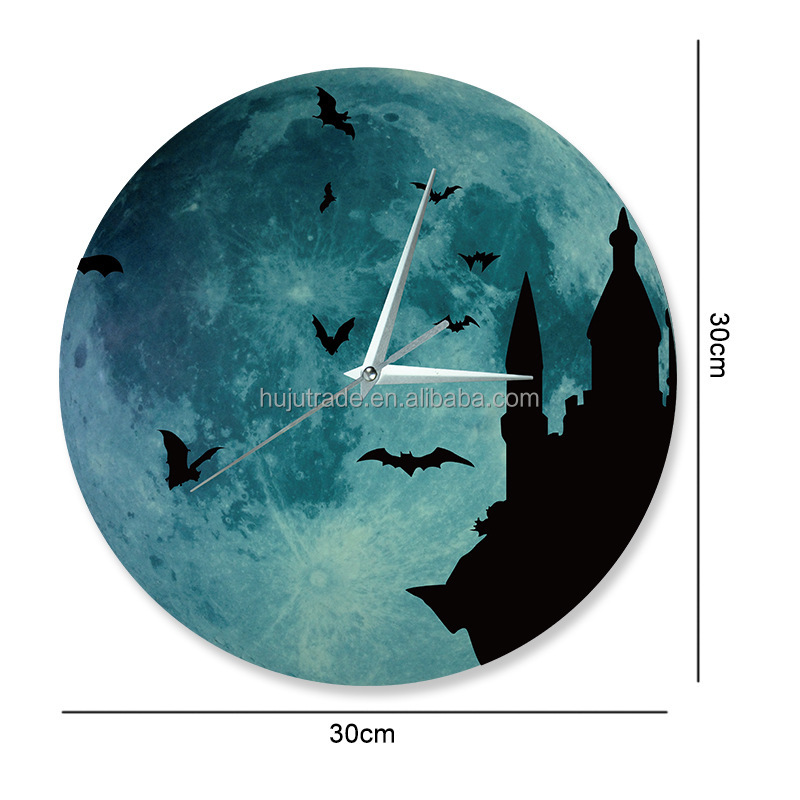 kids diy halloween Plastic Luminous Wall clock