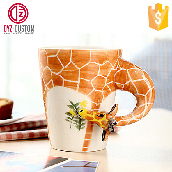Creative 3D Ceramic Coffee Mug Giraffe Shape Hand-painted Coffee Mug