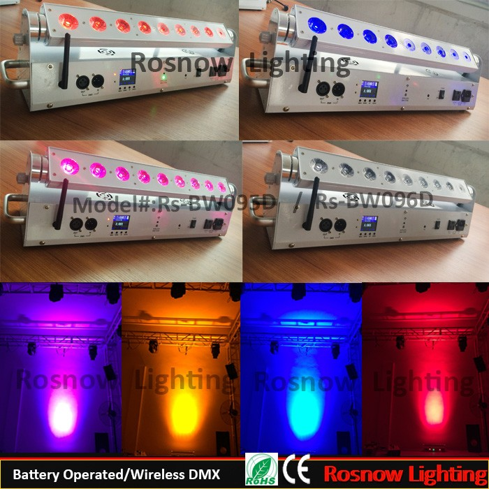LED rotating wall washer bar light 9*18W RGBWA 6in1 iphone control colorful stage DJ bar uplight / LED KTV wall washer