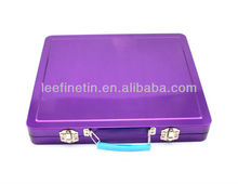 High quality beautiful tin lunch box with plastic handle and metal lock