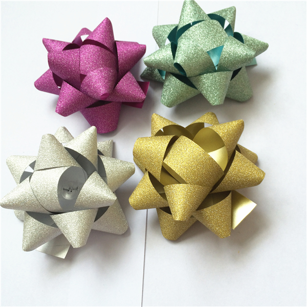 Christmas decorative star bow wholesale 3 inch glitter ribbon