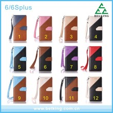 Mix Colors Card Slot Wallet Handbag Leather Case For iPhone 6/6 Plus Mobile Phone