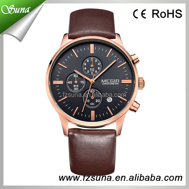 Good PRICE MEGIR Leather Branded Luxury Watches Men Chronograph 6 Hands China Watch Manufacturer