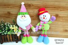 Fabric standing santa snowman deer christmas decoration in home