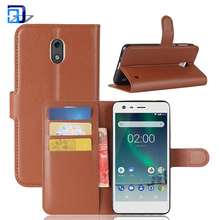 High quality folio flip case with card slot lychee pu leather phone case for Nokia 2