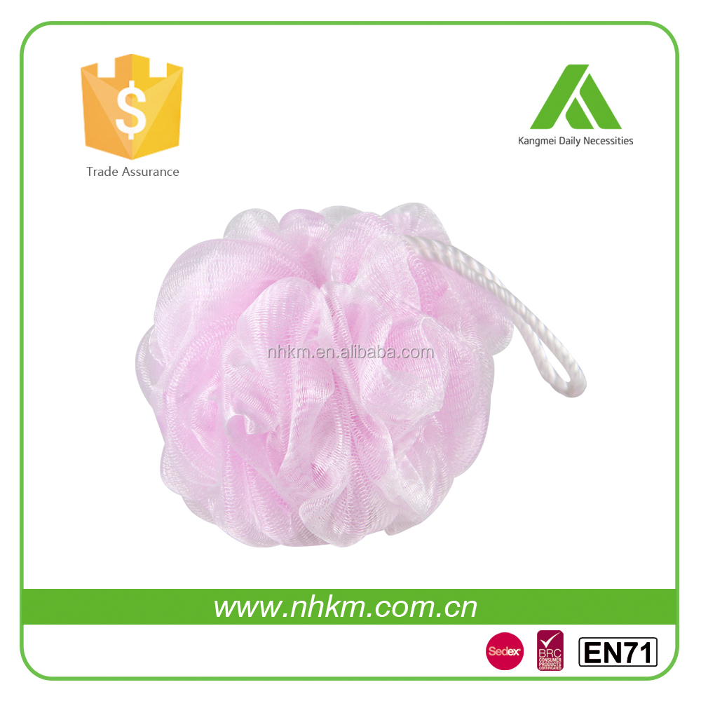 Healthy Beautiful Round Body Pink Chiffon Shower Pouf In Wholesales