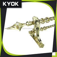 KYOK polish rod and extendable swivel curtain pole, hardware factory curtain rod ,Luxury hotel Decorative window curtain finial