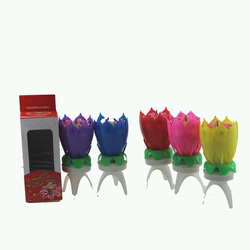 Wholesale lotus flower tripod based with music novelty birthday candles for happy birthday party