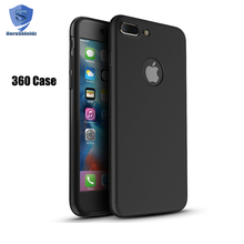 360 All-around Anti Fingerprint Full Body Coverage Protection Hard PC Slim 360 Case For iPhone 7 Plus + Glass Screen Protector