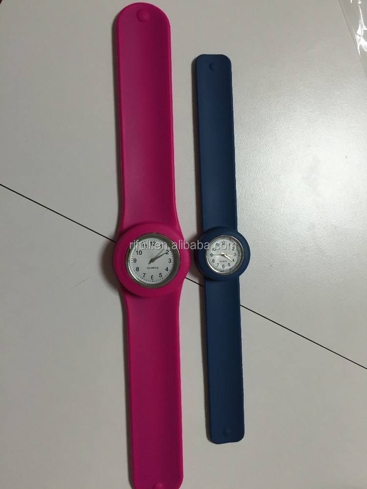 Customized long strap watch with slap silicone band