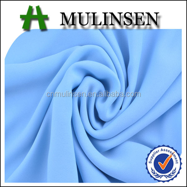 Mulinsen Textile Sky Blue Dyed 75D Double Chiffon Dobby Georgette Sari Fabric Wholesale