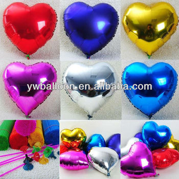 plain color heart shape foil balloon