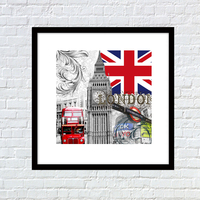 London city bus wooden frame photo picture poster printing service for coffee bar decor