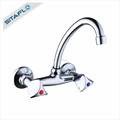 High quality double handle zinc wall mounted kitchen mixer