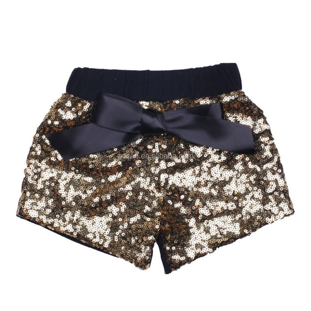 Wholesale Baby Sequin Shorts for Children wirh Waist Design Baby Sequin Shorts